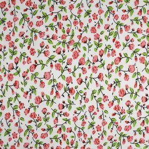 Rosebud Print Viscose Fabric Pink 145cm