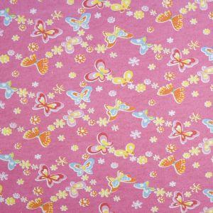 Butterflies Cotton Flannel Fabric Pink 110cm