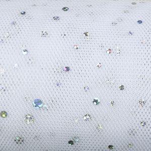Hologram Sequin Tulle Fabric 1 White 150cm