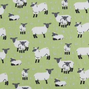 Sheep Cotton Poplin Fabric 3 Green 149cm