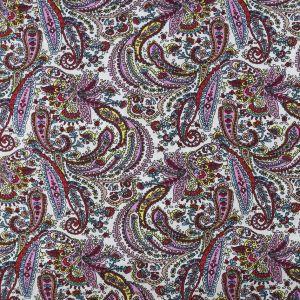 Paisley Print Cotton Poplin Fabric 8008-1 Pink 147cm