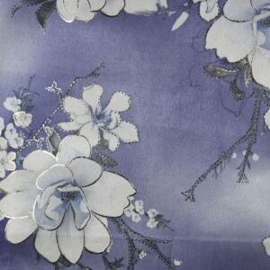 Metallic Floral Suede Scuba Fabric LS4-3 Purple 147cm