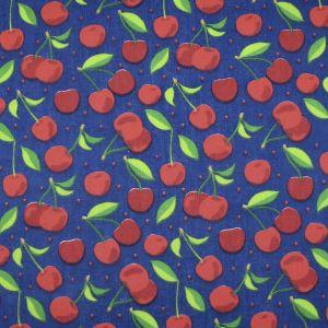 Cherries Poly Cotton Navy 112cm