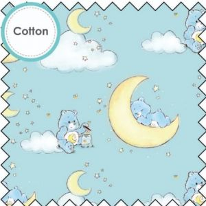 Bedtime Bear Cotton Fabric Blue 112cm