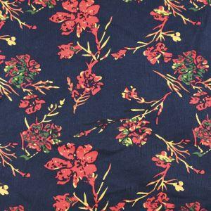 Floral Cotton Corduroy Fabric Orange Navy 148cm