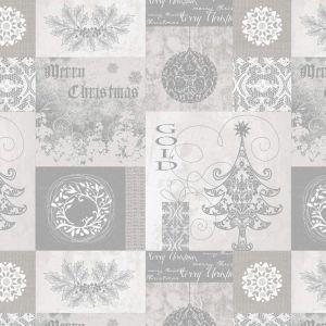 Merry Christmas PVC Fabric Silver 140cm