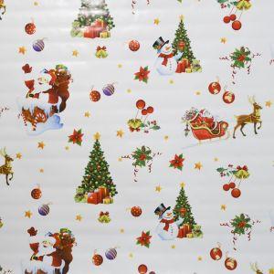 Santa And Snowman Christmas PVC Fabric Multi 140cm