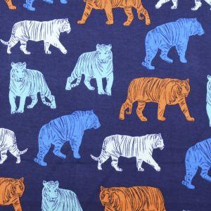 Tigers Cotton Interlock Jersey Fabric Navy 155cm