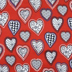 Hearts Cotton Interlock Jersey Fabric Red 155cm