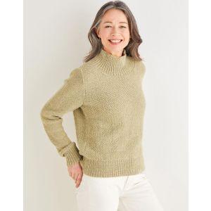 "Sirdar Saltaire Womens Funnel Neck Moss Stitch Sweater 10176 81-137cm 32-54"""