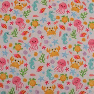 Seaside Print Cotton Canvas Fabric 15 Pink 145cm