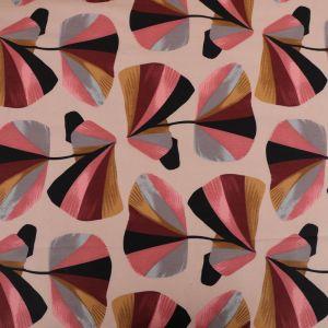 Fan Print Cotton Lawn Fabric 6016-1 Burgundy 145cm