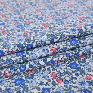 Flower Garden Print Cotton Poplin Fabric F1353-2 Blue 145cm