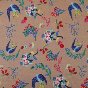 Swallows Print Cotton Seersucker Fabric B36-3 Biscuit 145cm