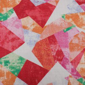 Geometric Print Cotton Seersucker Fabric B97-2 Orange 145cm
