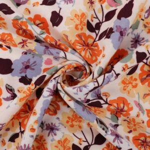 Floral Cluster Print Viscose Poplin Fabric 49526-4 White Apricot 140cm