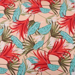 Tropical Print Viscose Poplin Fabric 49581-1 Cream Turquoise 140cm