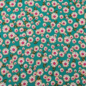 Daisy Print Viscose Poplin Fabric 49532-3 Green 140cm