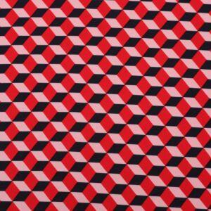Cubic Print Crepe Fabric L9400-2 Red 145cm