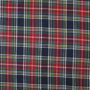 Brushed Cotton Tartan Fabric Red Navy 150cm