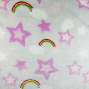 Rainbow Stars Cuddle Fleece Fabric Silver 150cm
