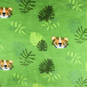 Tiger Cuddle Fleece Fabric Lime 150cm