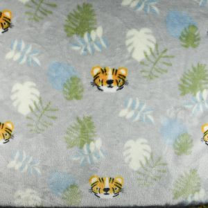 Tiger Cuddle Fleece Fabric Silver 150cm
