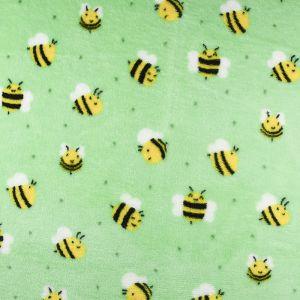 Bees Cuddle Fleece Fabric Mint 150cm