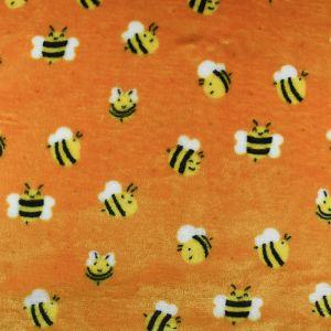 Bees Cuddle Fleece Fabric Orange 150cm
