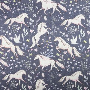 Unicorn Digital Print Canvas Fabric Mauve 147cm