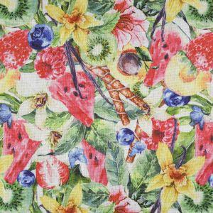Flowers and Fruit Digital Print Canvas Fabric Multi 147cm