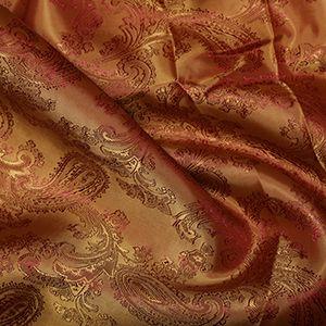 Paisley Poly Viscose Jacquard Fabric 19 Terracotta 146cm