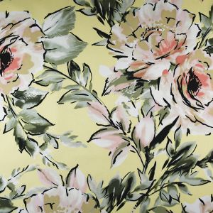 Floral Crepe Fabric Yellow 148cm