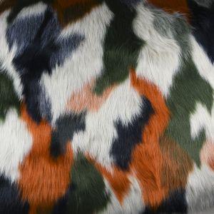 Luxury Faux Fur Fabric Rust Green 148cm