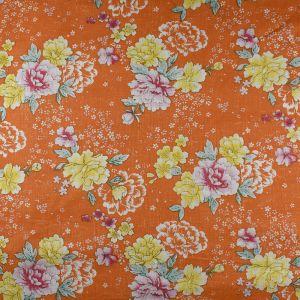 Floral Cotton Voile Fabric Orange 148cm