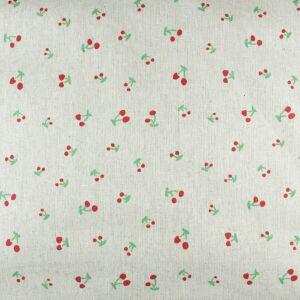 Cherry Printed Fabric Natural 110cm
