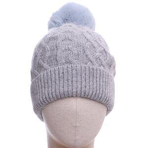 Aran Pom Pom Hat Blue Grey