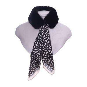 Silk and Fur Collar Belts Black