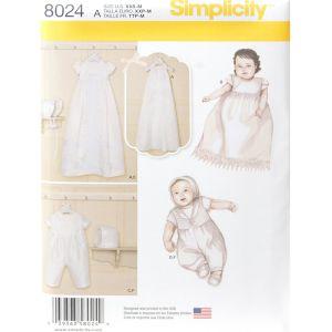 Simplicity Sewing Pattern Babies Christening Sets/8024.A/XXS - M