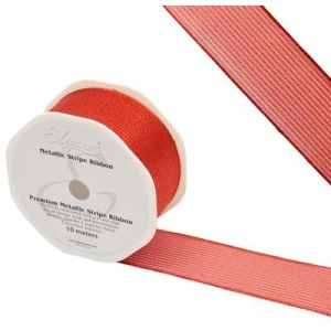 "Eleganza Finesse Metallic Wire Edge Stripe Ribbon Red 16 38mm 1.5"""