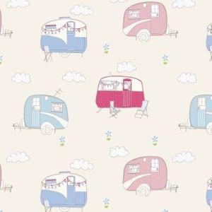 Caravan  PVC Oilcloth Fabric Pink 132cm