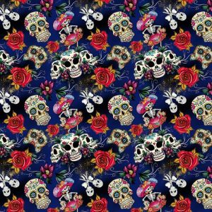 Day of the Dead 3 Craft Cotton Fabric Blue 140cm
