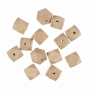 Trimits pack of Square Beech Wooden Beads Natural 30mm x 50pcs