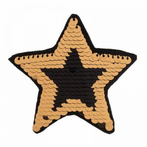 Sequin Star Motif Code C Black Gold 8cm x 7.8cm