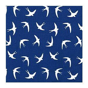 Birds Cotton Poplin Fabric Royal Blue 114cm