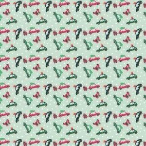 Retro Christmas Cars Fabric Green 110cm