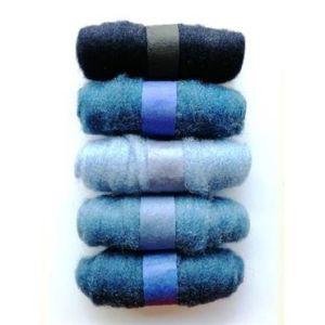 Felting Fibre Wool Asstd 20g 5 Rolls Blue 100g