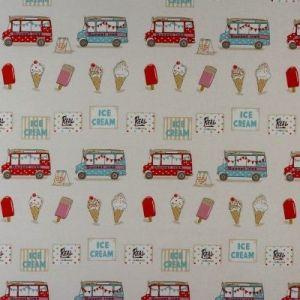 Ice Creams PVC Oilcloth Fabric Multi 132cm