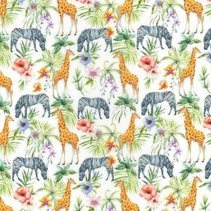 Zebra & Giraffe Digitally Printed Cotton White 150cm