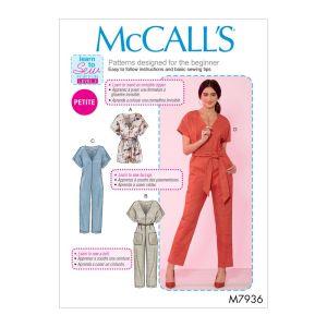 McCalls Sewing Pattern Misses and Petite Romper Jumpsuit Belt M7936Y XS-M